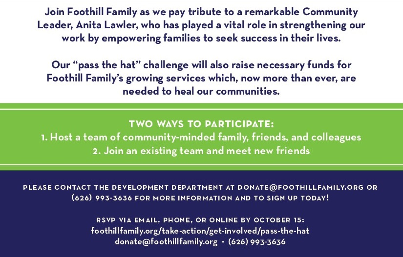 Foothill Family Pass The Hat 2020 Save the Date
